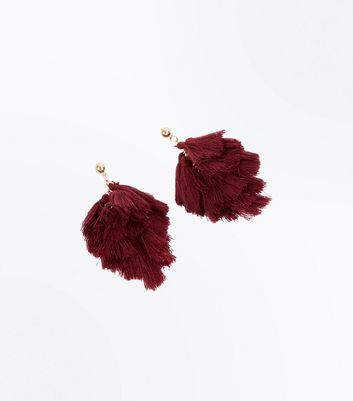 Burgundy Tassel Stud Earrings