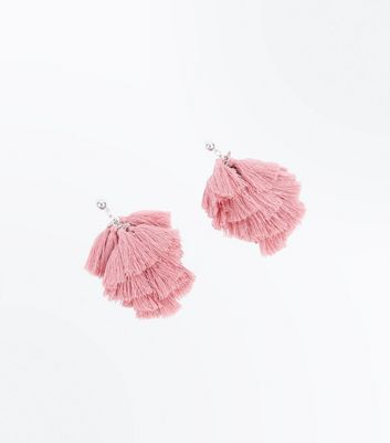 Pink Tassel Stud Earrings