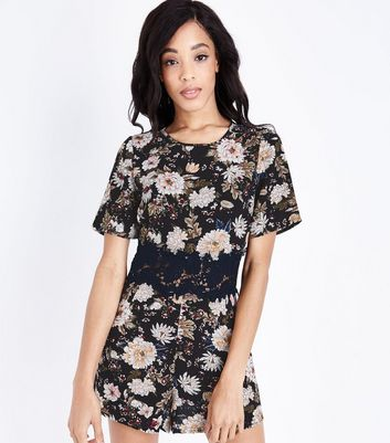 Tall Black Floral Crochet Waist Playsuit