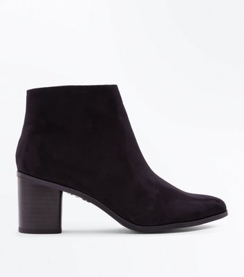 Black Suedette Curved Block Heel Ankle Boots