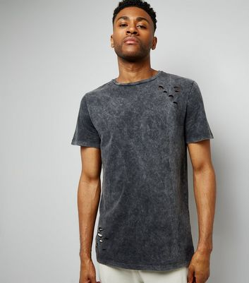 Grey Acid Wash Ripped T-Shirt