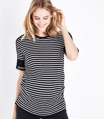 Maternity Black Stripe Crochet Trim T-Shirt