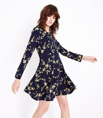 Blue Vanilla Navy Floral Skater Dress