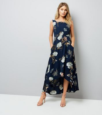 Blue Vanilla Navy Floral Print Dip Hem Midi Dress