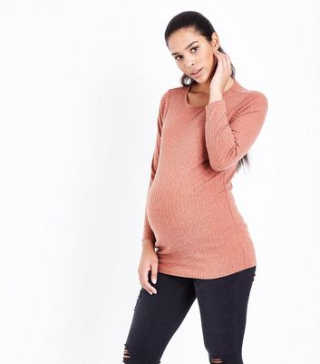Maternity Rust Ribbed Longline Top