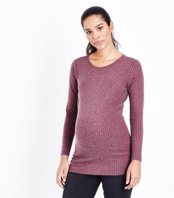 Maternity Burgundy Ribbed Longline Top