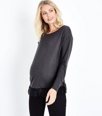 Maternity Dark Grey Lace Hem Top