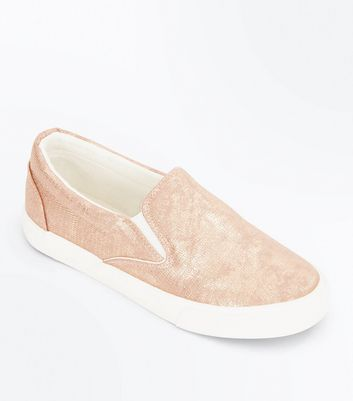 Rose Gold Faux Snakeskin Slip On Plimsolls