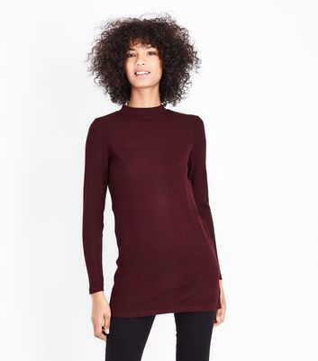 Burgundy Brushed Ribbed Tunic Top