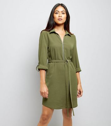 Petite Khaki Zip Front Collared Dress