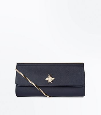 Black Insect Front Clutch Bag