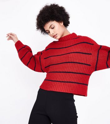 Red Stripe Balloon Sleeve Jumper