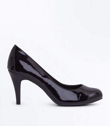 Wide Fit Black Patent Round Toe Court Shoes