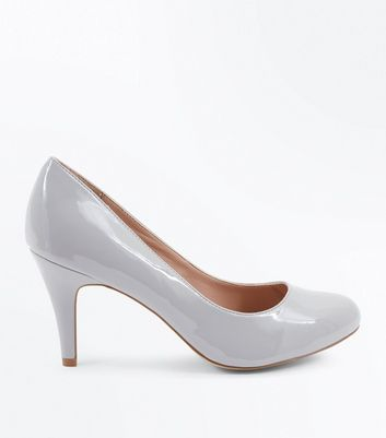 Wide Fit Grey Patent Round Toe Court Shoes