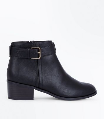 Black Comfort Buckle Side Block Heel Ankle Boots