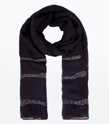 Black Diamante Stripe Scarf