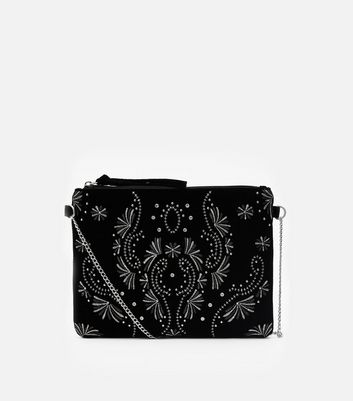 Black Embroidered Velvet Clutch