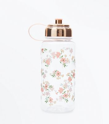 Transparent Flower Print Water Bottle