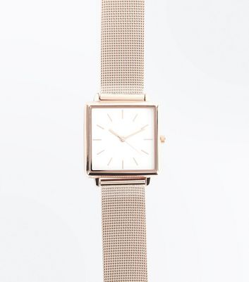 Rose Gold Mesh Strap Watch