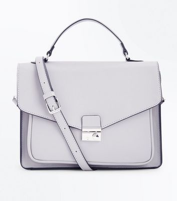 Dark Grey Structured Satchel Bag