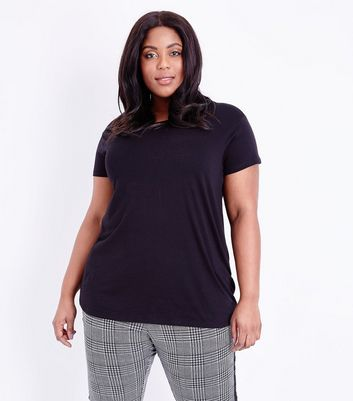 Curves Black Short Sleeve Oversized T-Shirt