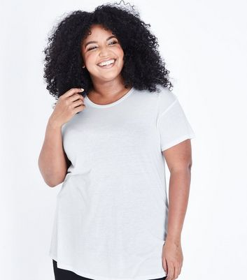 Curves White Short Sleeve Oversized T-Shirt