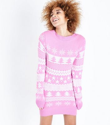 Mela Shell Pink Fairisle Knit Christmas Jumper Dress