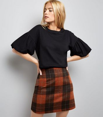 Black Drop Shoulder Puff Sleeve T-Shirt