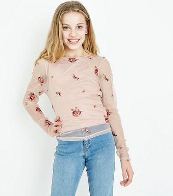 Teens Pink Floral Embroidered Mesh Top