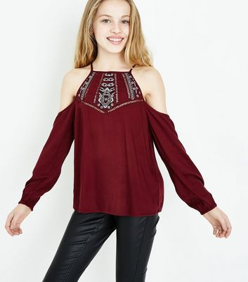 Teens Burgundy Cross Stitch Front Cold Shoulder Top