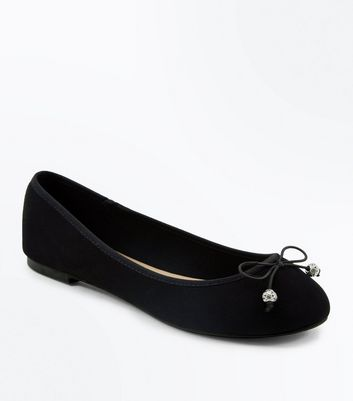 Wide Fit Black Suedette Diamante Bead Ballet Pumps