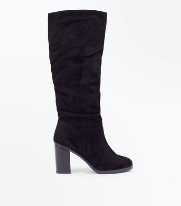 Black Suedette Block Heel Knee High Boots