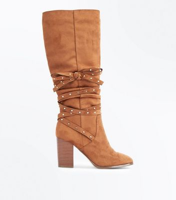 Tan Suedette Stud Tie Knee High Boots