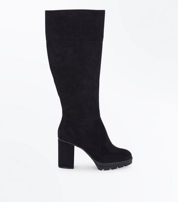 Black Suedette Cleated Sole Knee High Boots