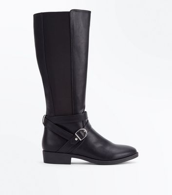 Black Buckle Strap Knee High Boots