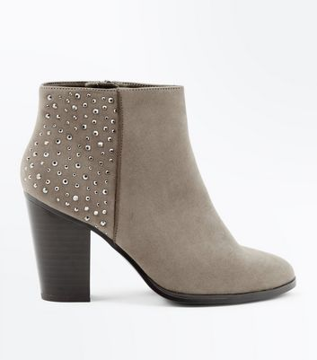 Wide Fit Light Brown Gem Embellished Heeled Boots