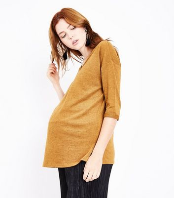 Maternity Mustard Yellow Brushed Knit V Neck Jumper
