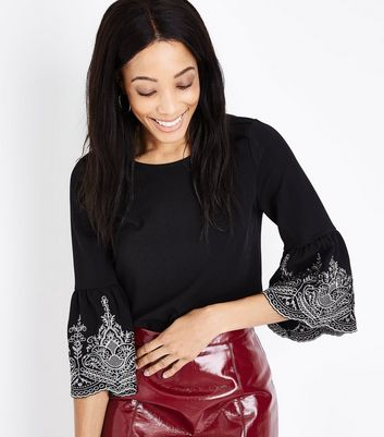Black Embroidered Bell Sleeve Top