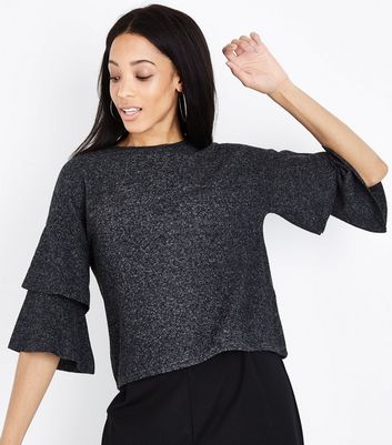 Dark Grey Brushed Fine Knit Tiered Sleeve Top