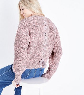 Pink Marl Pointelle Lace Up Back Jumper