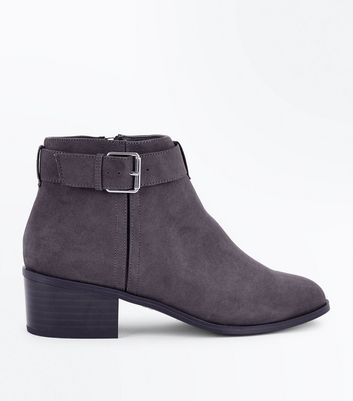 Grey Comfort Suedette Buckle Side Boots