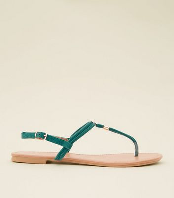 Green Suedette Metal Trim Flat Sandals