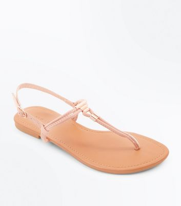 Pink Suedette Metal Trim Flat Sandals