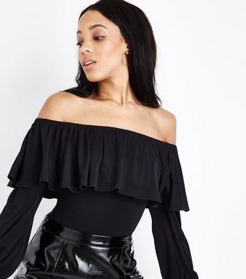 Black Frill Bardot Neck Long Sleeve Bodysuit