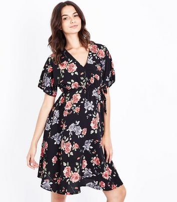 Maternity Black Floral Wrap Dress