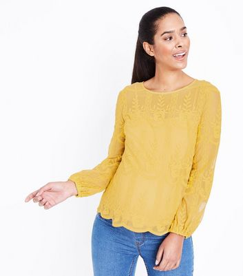 Maternity Yellow Sheer Embroidered Balloon Sleeve Top