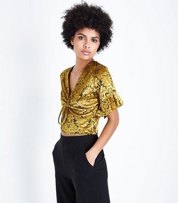 Yellow Velvet Burnout Ruched Front Crop Top