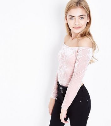 Teens Shell Pink Velvet Bardot Neck Top