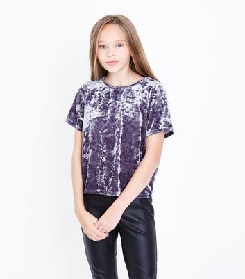 Teens Dark Grey Velvet T-shirt