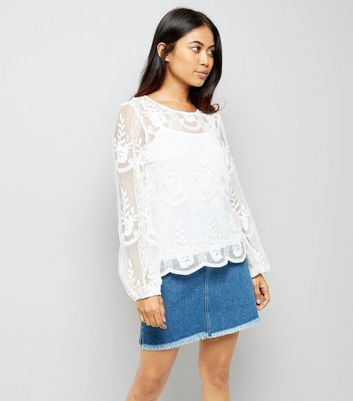 Petite Cream Sheer Embroidered Balloon Sleeve Top